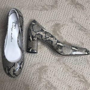 Bettye Muller Leather snakeskin print block heels